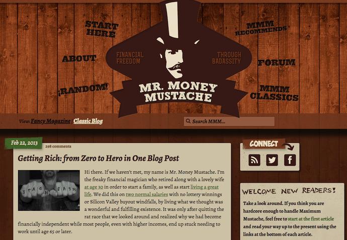 Personal Website Examples: Mr. Money Mustache