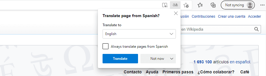 The translate page prompt in Microsoft Edge