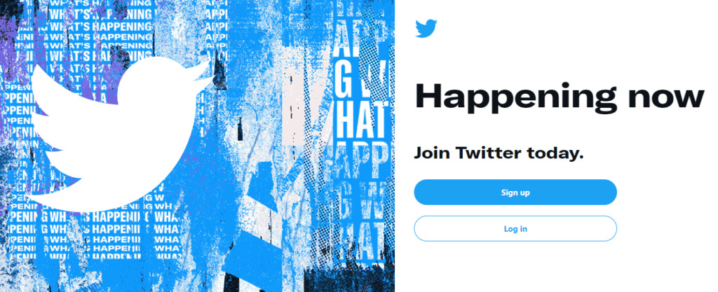 The Twitter home page.