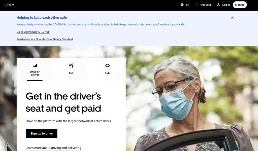 A screenshot of Uber's homepage