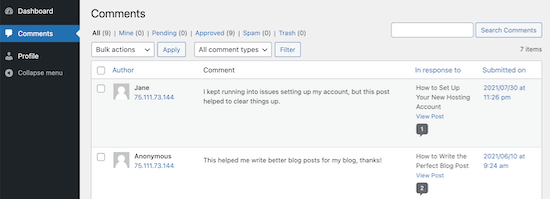 User comment dashboard