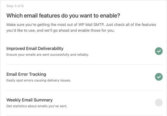 Enable WP Mail SMTP Email Features