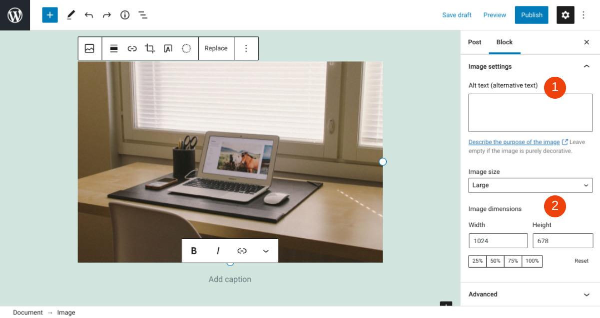 The WordPress image settings.