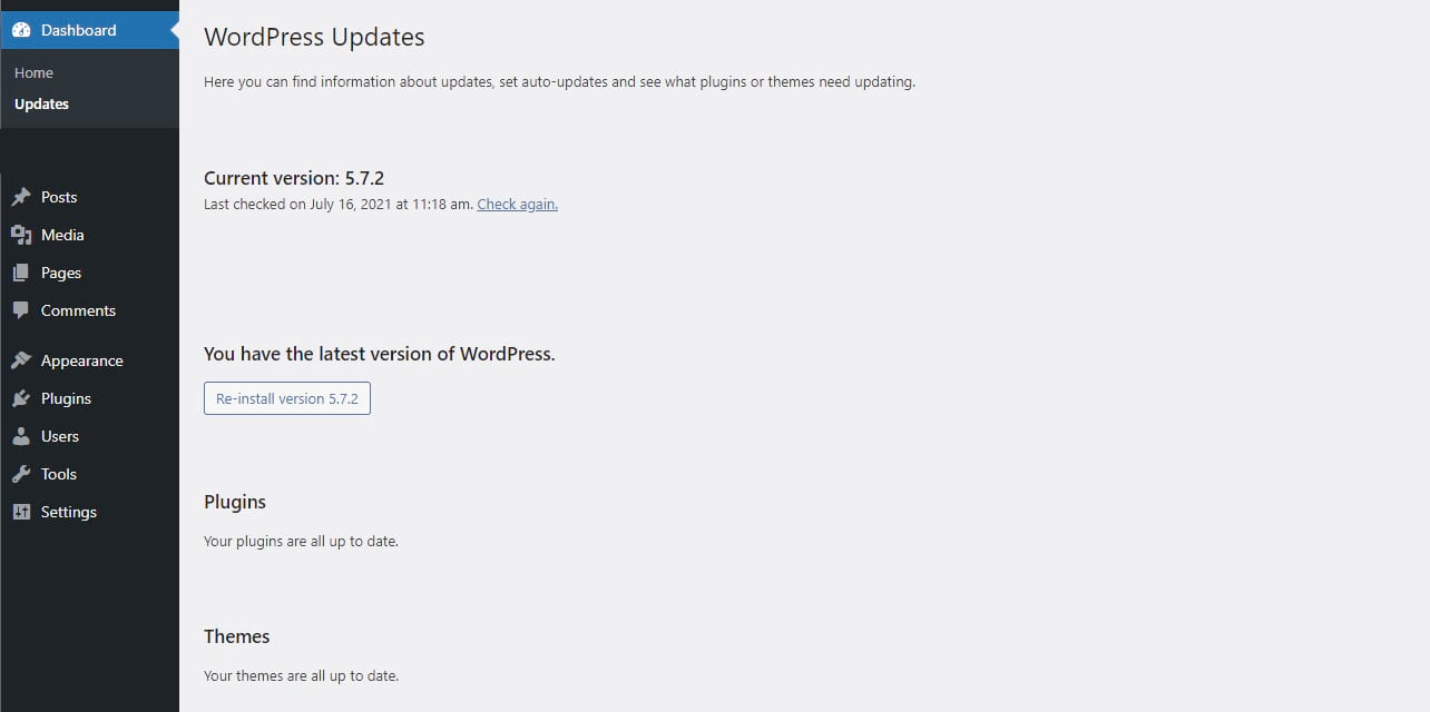"Screenshot of the WordPress Dashboard showing the ""WordPress Updates"" section"