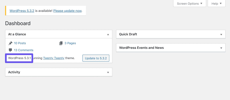 the wordpress version in the dashboard