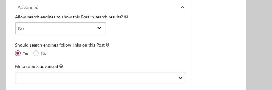 "Yoast SEO settings showing ""Advanced"" options"
