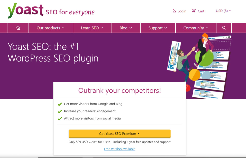 The Yoast SEO plugin homepage