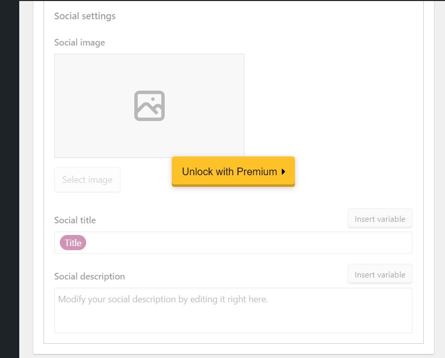 Yoast SEO plugin social settings preview.