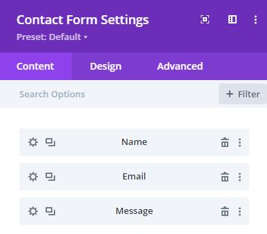 divi contact form options