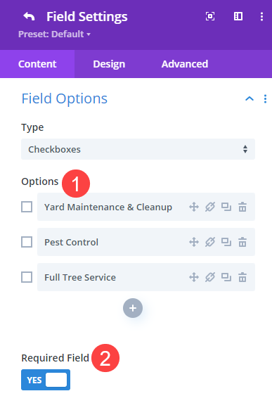contact form field options