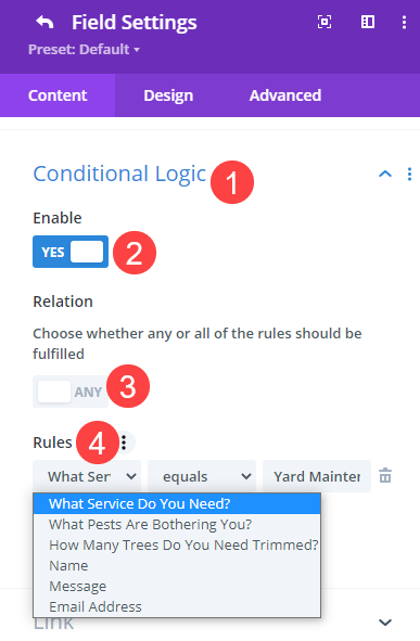 conditional logic for the contact form