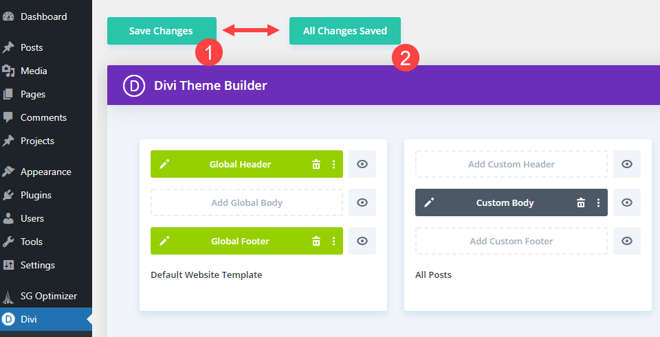divi search field save changes