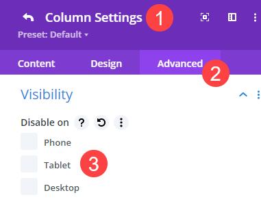 column visibility