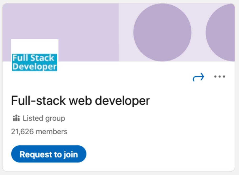 Full-stack web developer LinkedIn Group for designers and developers