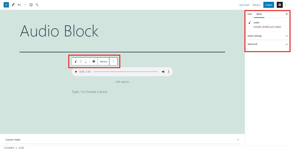 Audio Block Settings and Options
