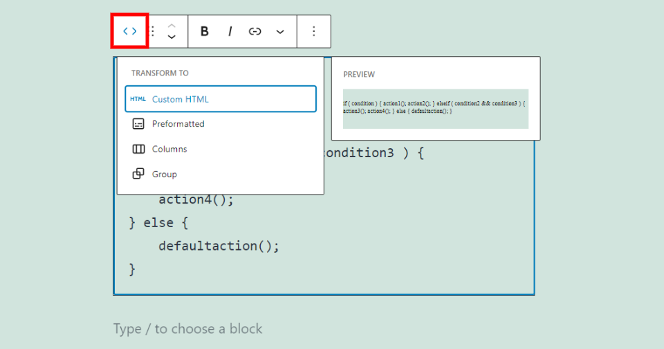 Change Code Block Type or Style