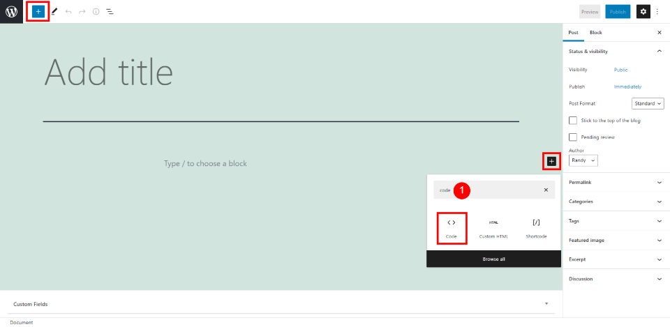 How to Add the Code Block to your Post or Page