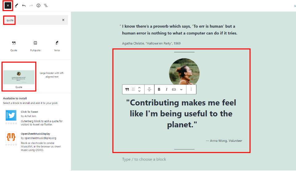 How to Add the Quote Block to your Post or Page