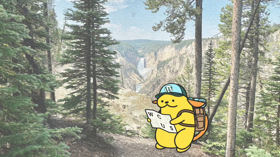 WordCamp US Wapuu with backpack, hat and map in the woods