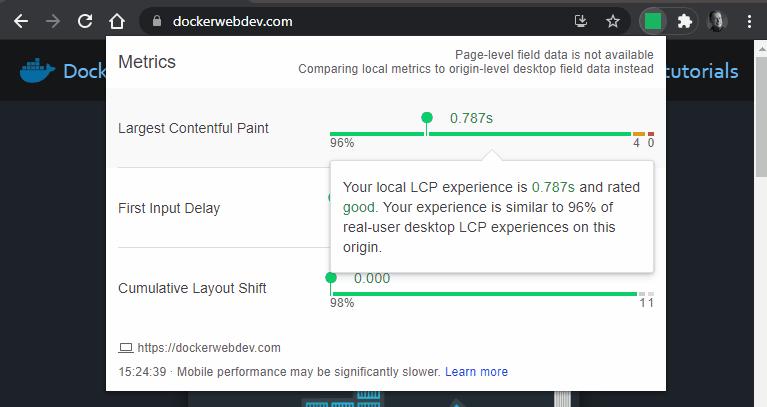 Web Vitals extension LCP.