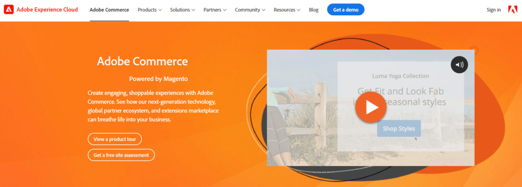The Adobe Commerce by Magento homepage.