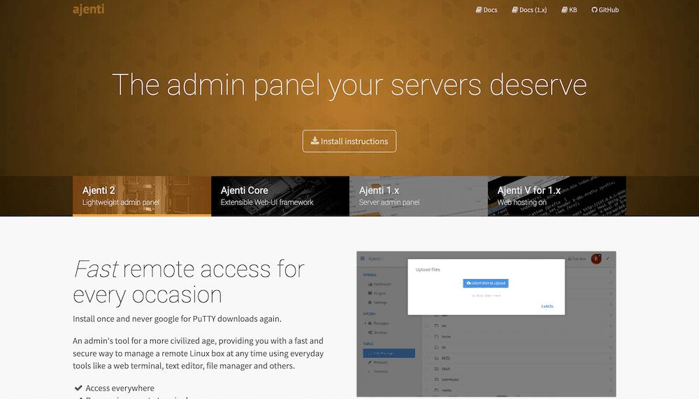The Ajenti website.