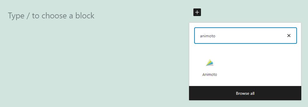 Adding an Animoto embed block in WordPress