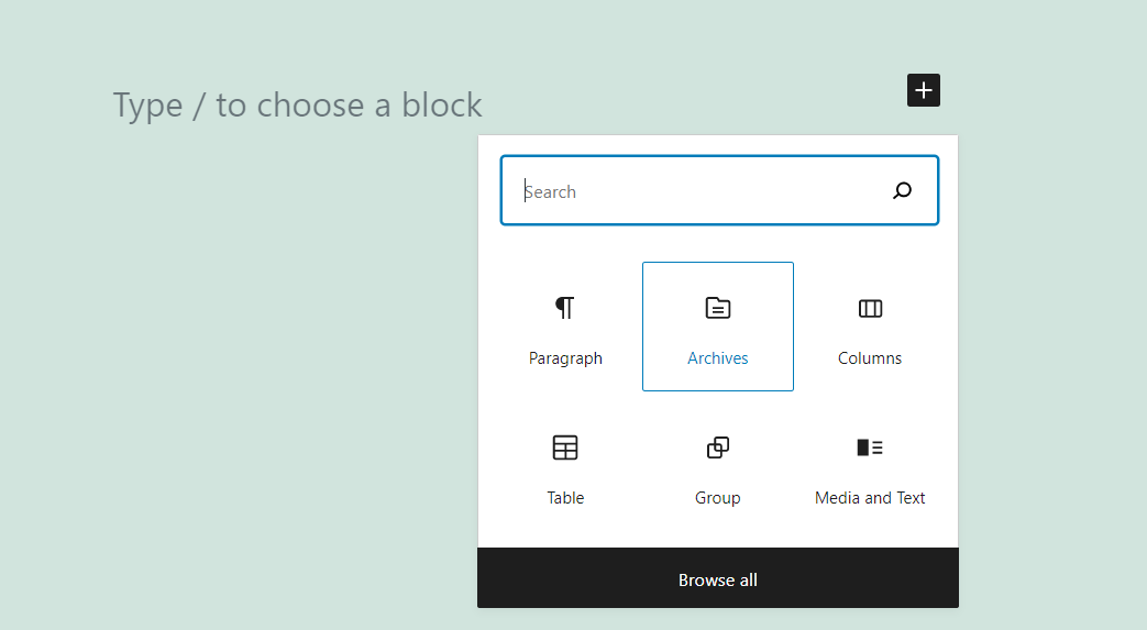 Adding the Archives block in WordPress