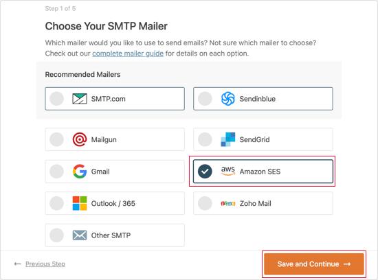 Select Amazon SES