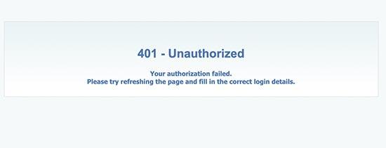 Unauthorized Error
