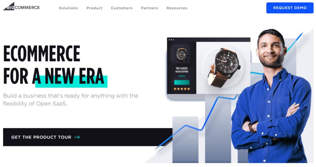The BigCommerce homepage.