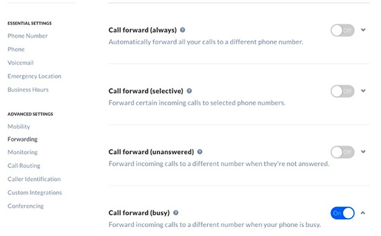 Additional call forwarding options in Nextiva