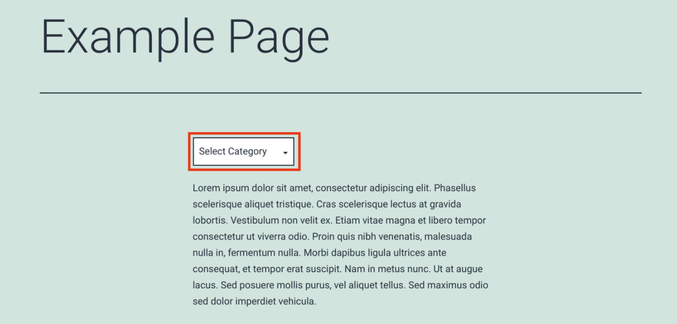 An example of a dropdown category list in WordPress.