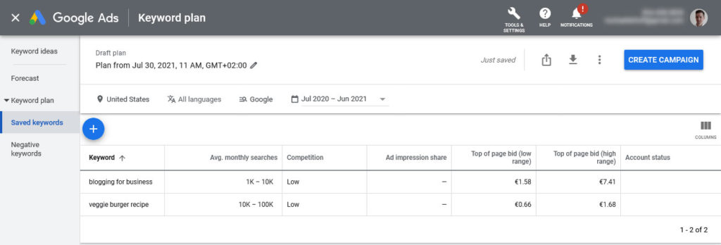 check search volume for topics in google keyword planner