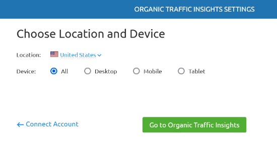 Choose location and device