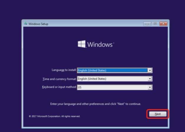Choose preferred language and date in Windows Setup