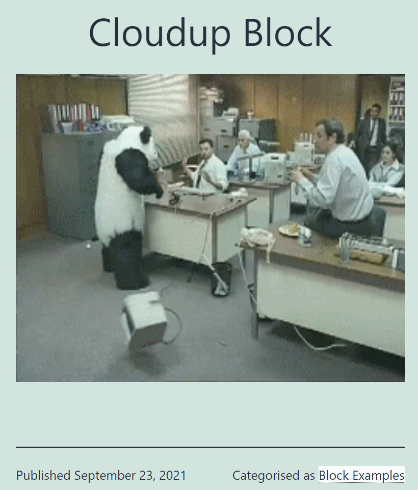 A Cloudup block on a blog page