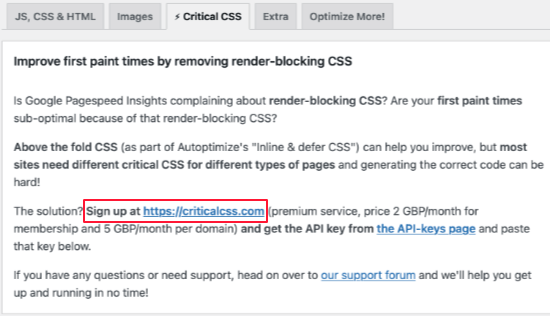 Sign Up for a Critical CSS Account