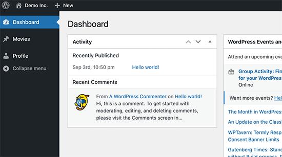 Custom user role dashboard