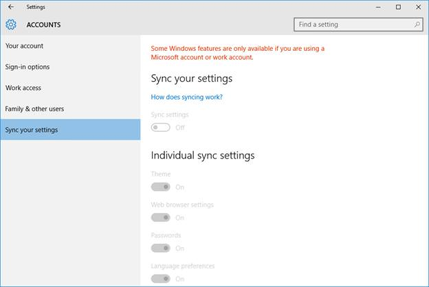 Disable Sync Feature