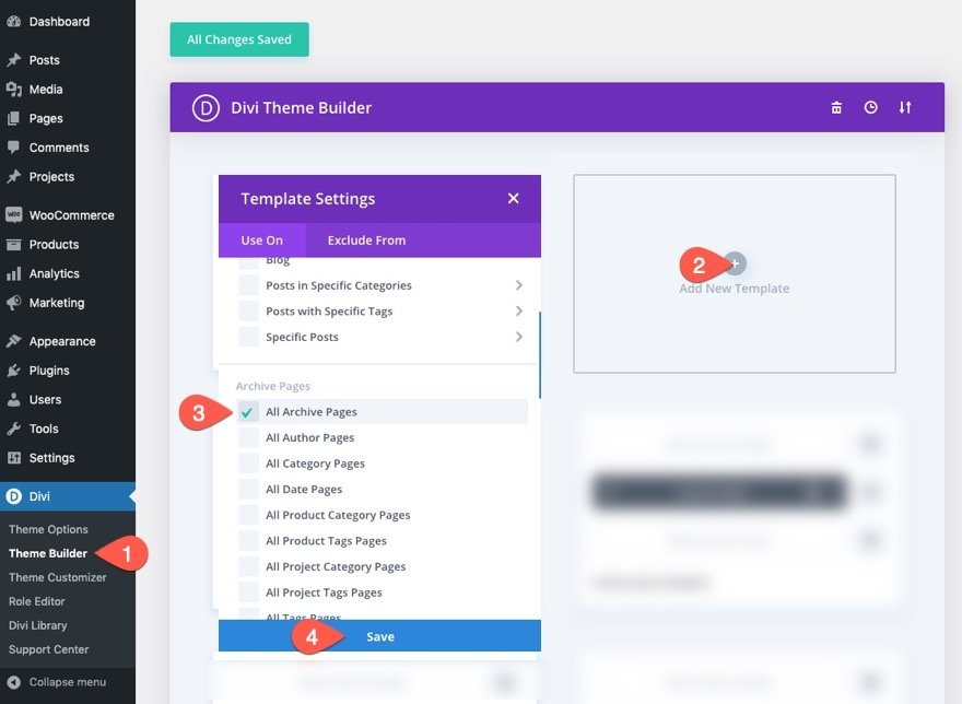 divi archive page template with masonry layout