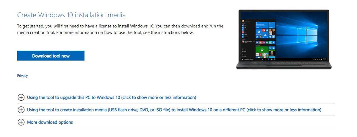 Download the Windows 10's installation media