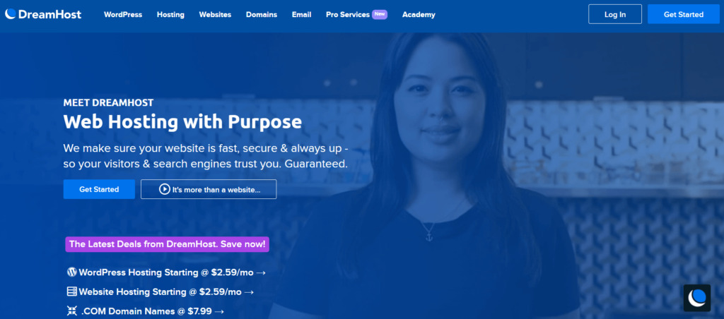 The DreamHost homepage