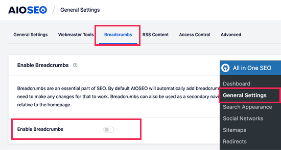 Enable breadcrumbs display in All in One SEO