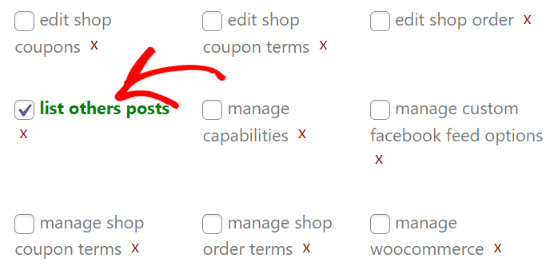 Enable list others posts checkbox