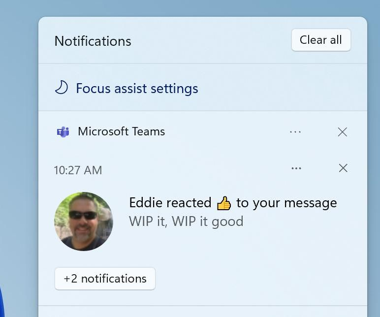 Focus Assist in the Notification Center in Windows 11