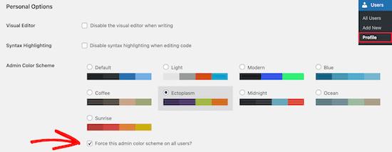 Check force admin color scheme checkbox