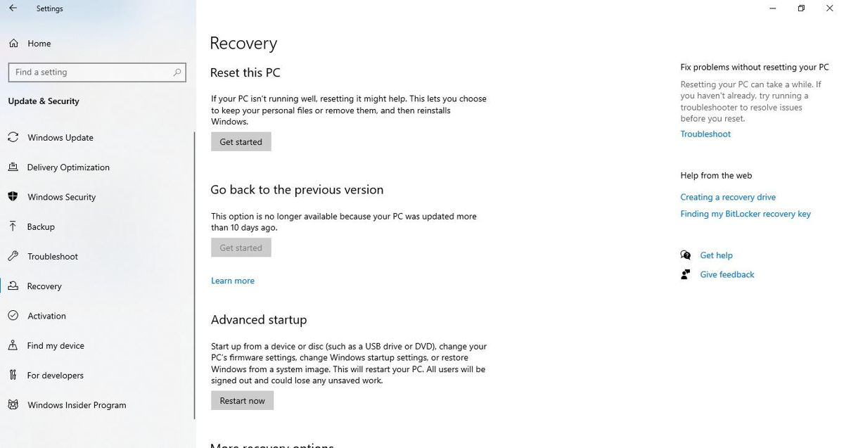 Go back to the previous version under Recovery