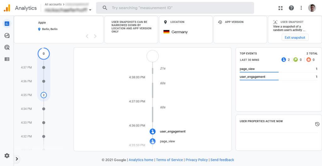 google analytics 4 user snapshot