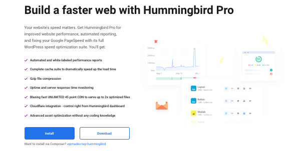A look at the landing page of our performance optimization plugin, Hummingbird